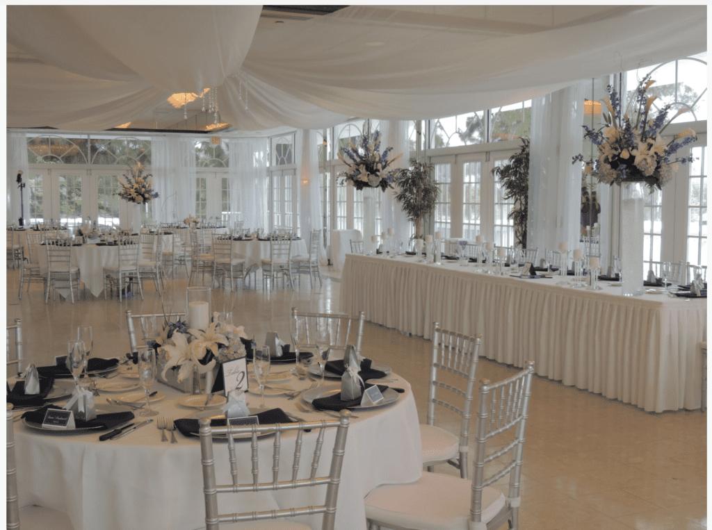 Reception in Lakeland, FL decorated with wedding decoration rentals